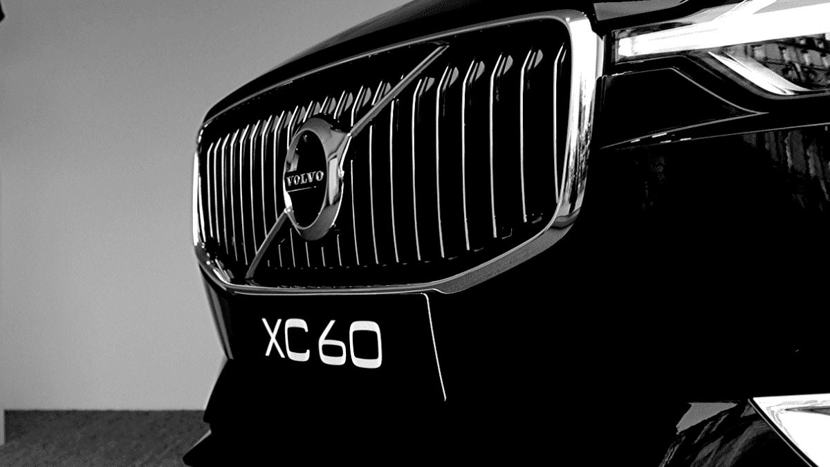 volvo grille car black and white