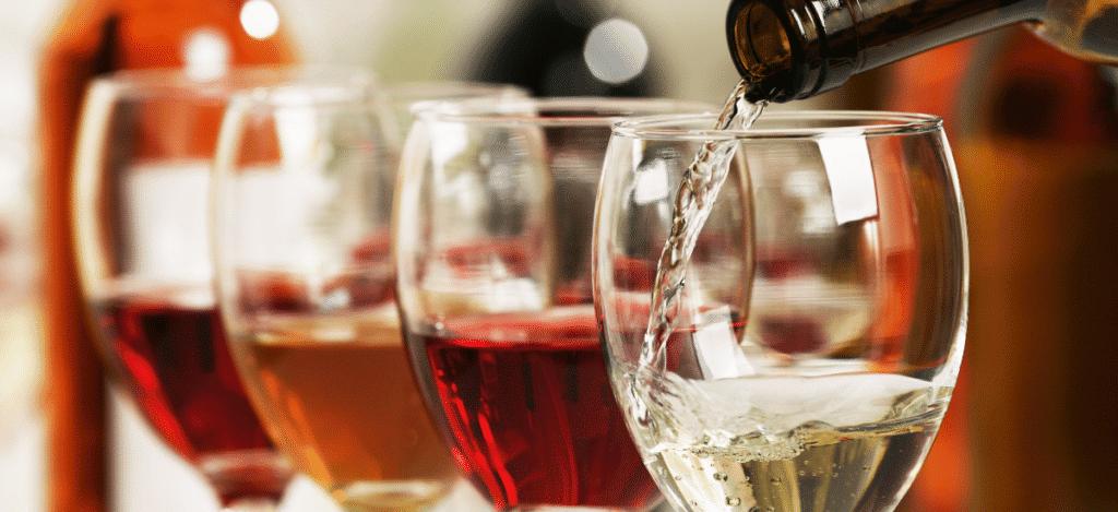 Dégustation de vins rouge, blanc, rosé
