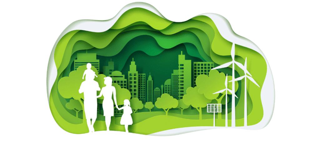 famille marchant dans ville écologique