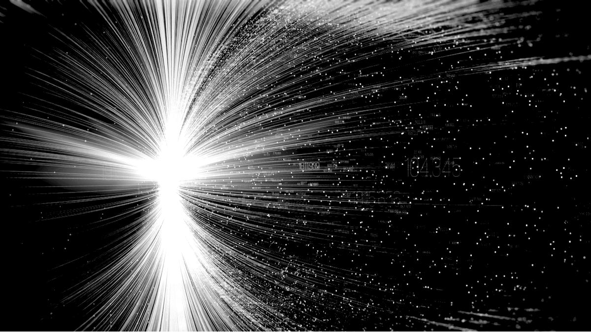 Une voie lactée de donnés qui s'échangent, symbolisant le transfert d'informations