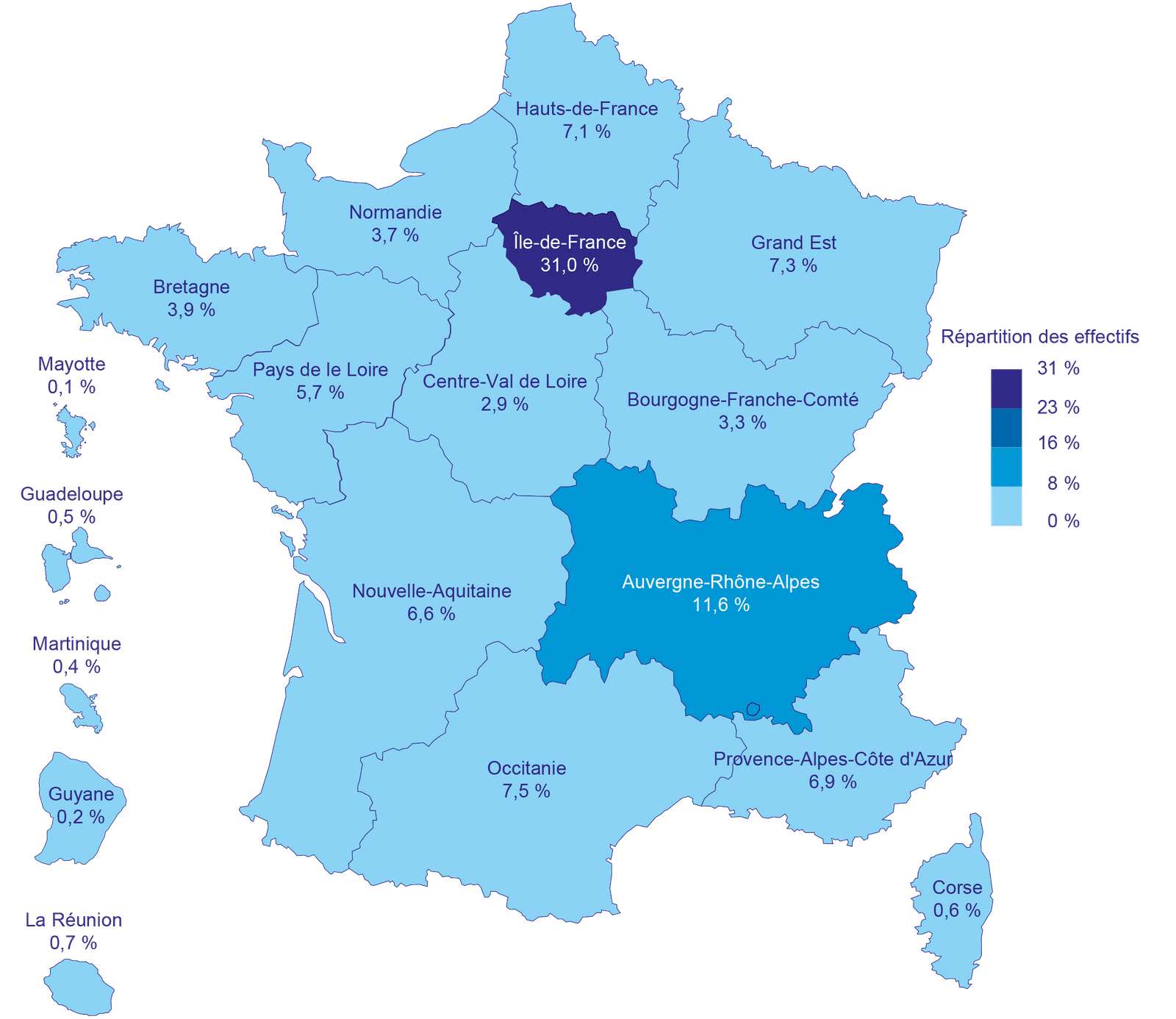 Carte France répartition des effectifs en activité partielle en juin 2020
