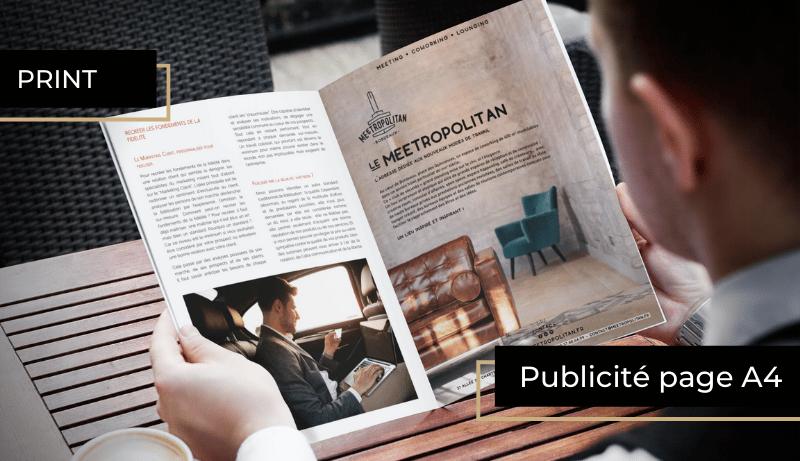 publicité A4 à l'intérieur du magazine semestriel BORDEAUX Business