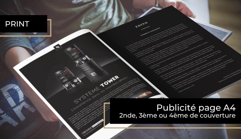 Publicité en pleine page A4 en espace premium seconde de couverture, troisième de couverture et quatrième de couverture
