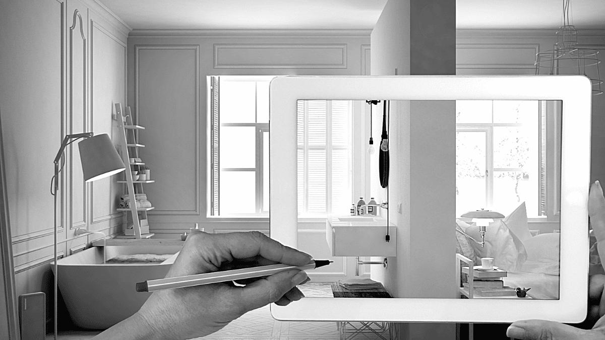 Tablette digitalisation architecte intérieur pièce lumineuse