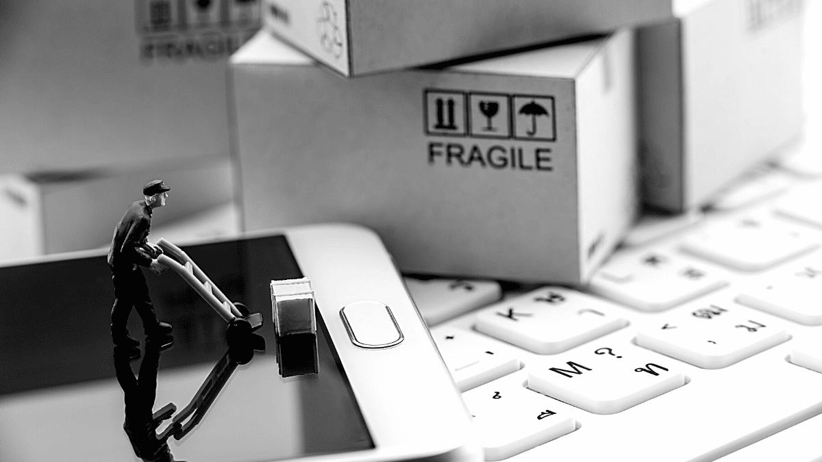 Personnage logistique colis fragile e commerce