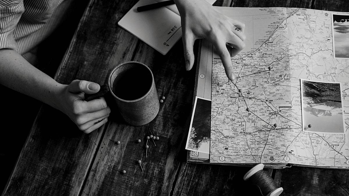 Préparation voyage touristique carte