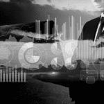 Homme ordinateur concept chiffres entreprise