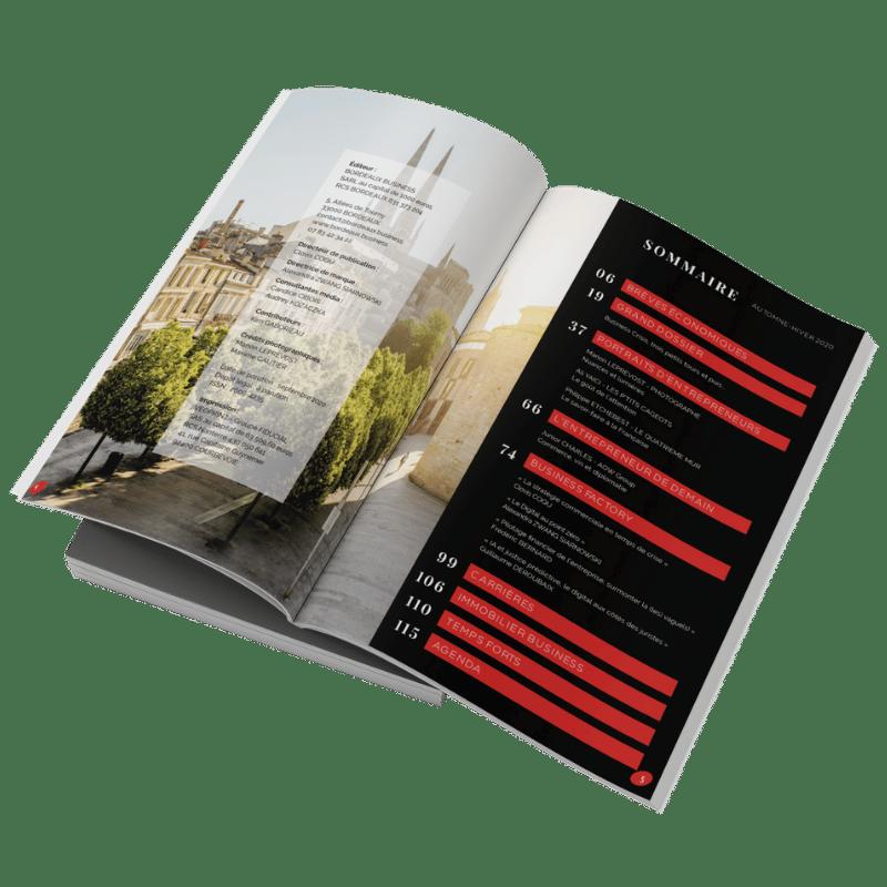 sommaire et double page intérieure du magazine BORDEAUX Business automne hiver 2020
