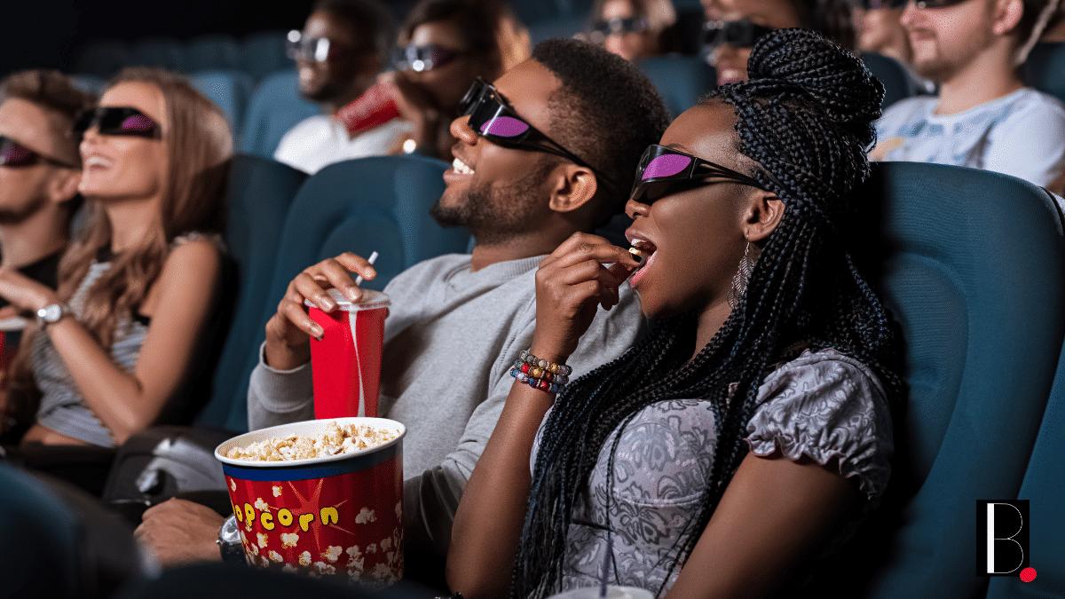 Spectators cinema room 3D popcorn