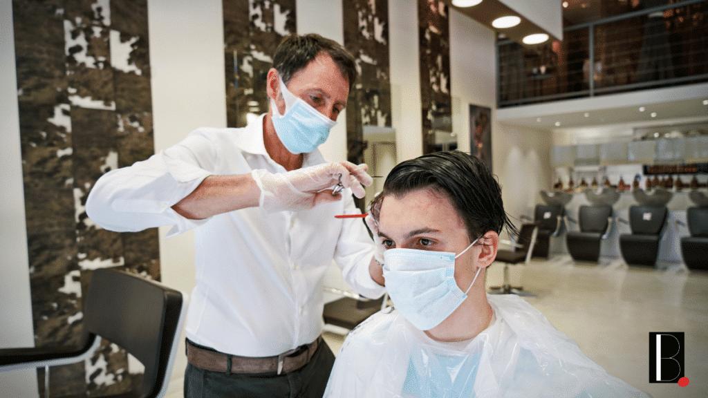 Hairdresser salon client mask
