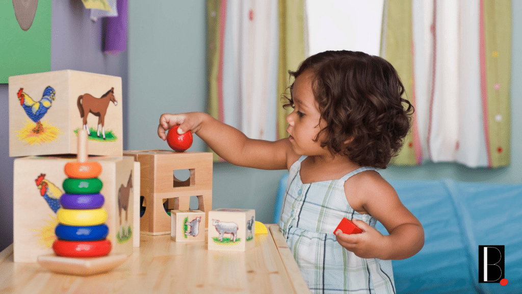 Child with wooden toy