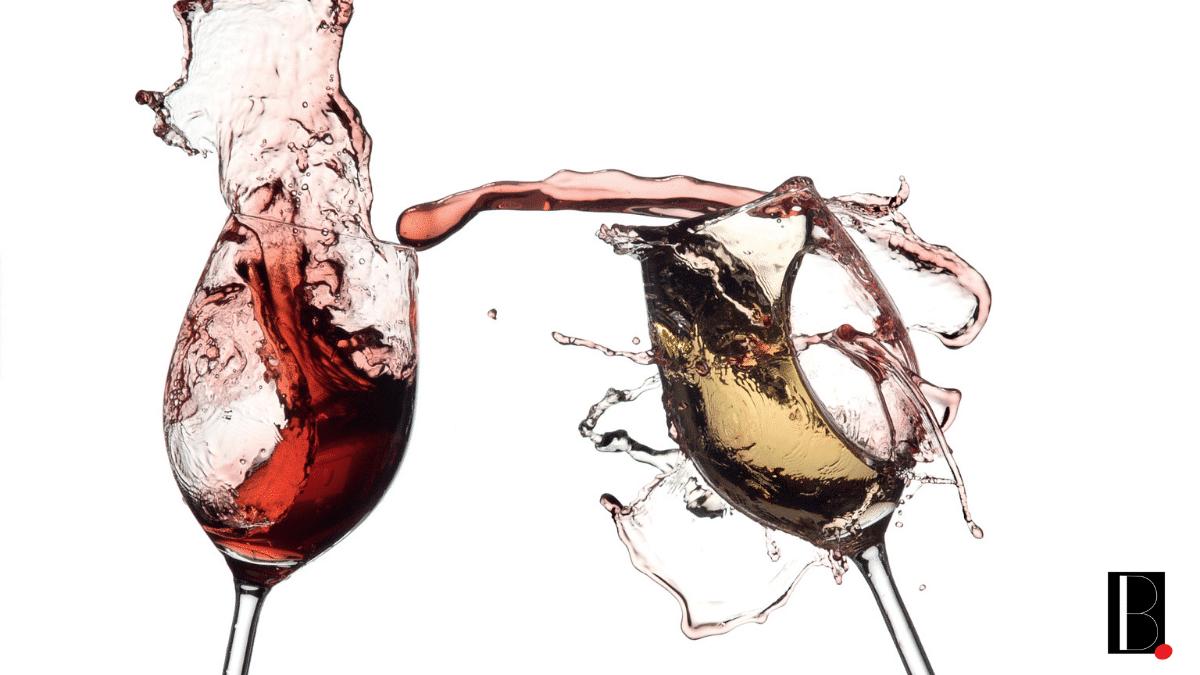 Verres de vin rouge blanc