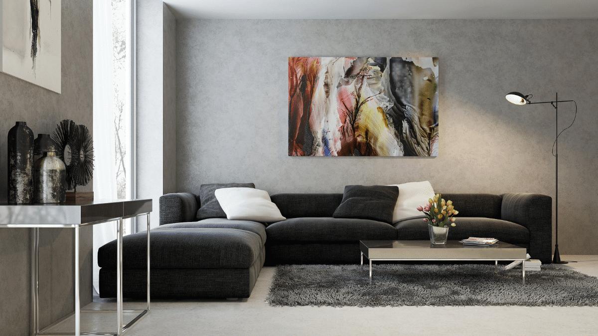 Salon décoré art peinture oeuvres